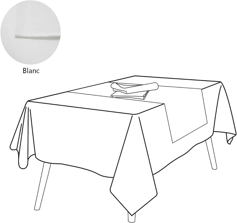 los nuevos estilos calientes SUR-MESURE-DECO  blancoo blancoo blancoo rel6978, Lino, blancoo, Nappe 160x200  excelentes precios