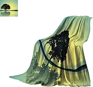 Luckyee Lightweight Blanket Apartment Decor,Single Tree Standing Alone with Reflection in Water Gulls Silhouettes Nature Scenery,Yellow Green Oversized Travel Throw Cover Blanket Bed or Couch 70