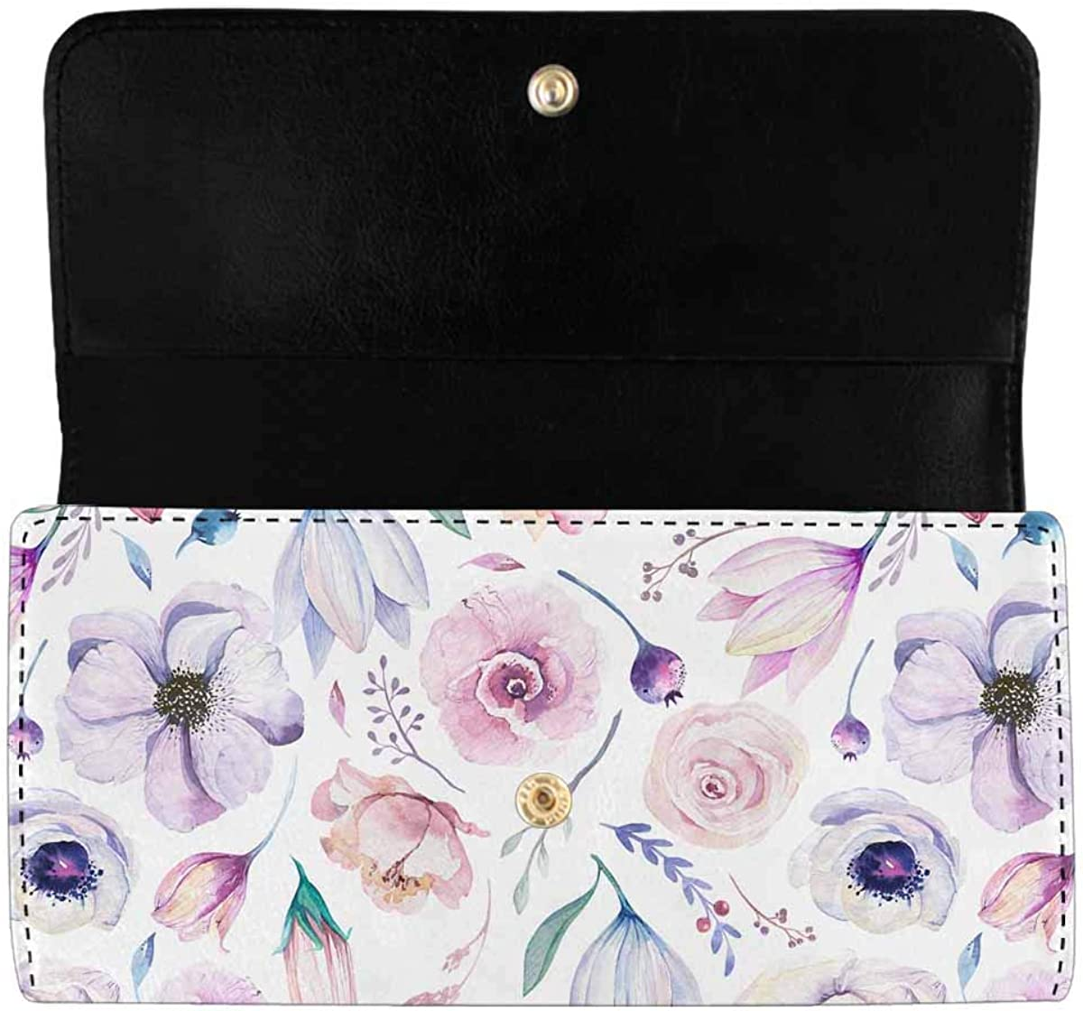 INTERESTPRINT Women's Trifold Long Clutch Purses Spring Blossom Tree Blooming Tree Card Holder Wallet