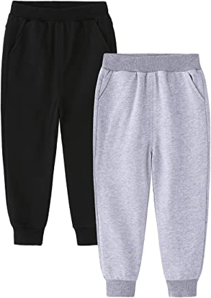 849333c01b1 ALALIMINI Little Boys Girls Sweatpants Cotton Jogger School Casual 2-Pack  Unisex Kids Pants Black Gray 2