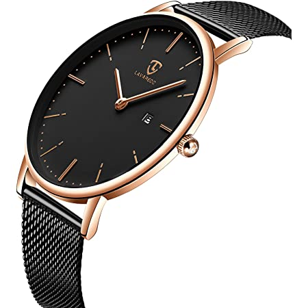 [BEN NEVIS] 腕時計 メンズ シンプル おしゃれ 薄型 カジュアル 日付表示 防水 アナログ クォーツ時計 メッシュ バンド ブラック