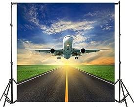 Yeele 5x5ft Aerodrome Aeroplane Flight Photography Background Vinyl Aviation Runway Plane Take-Off Blue Sky White Cloud Fly Travel Photo Backdrops Holiday Traveling Photo Shoot Studio Props