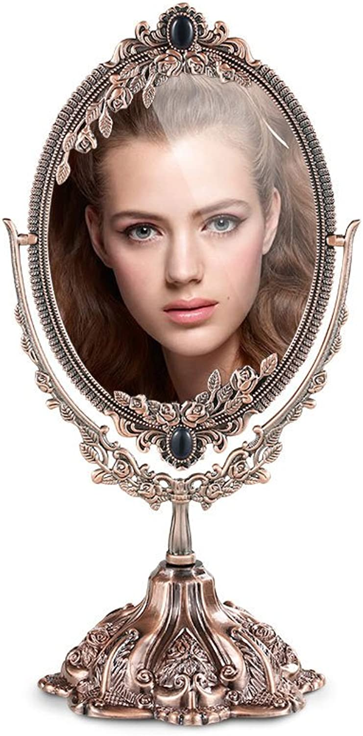 CSQ Retro Makeup Mirror, Multifunction Metal Desktop Princess Double Sided Dressing Mirror HD Bedroom Makeup Mirror Makeup and Mirror (color   Bronze, Size   8 inches)