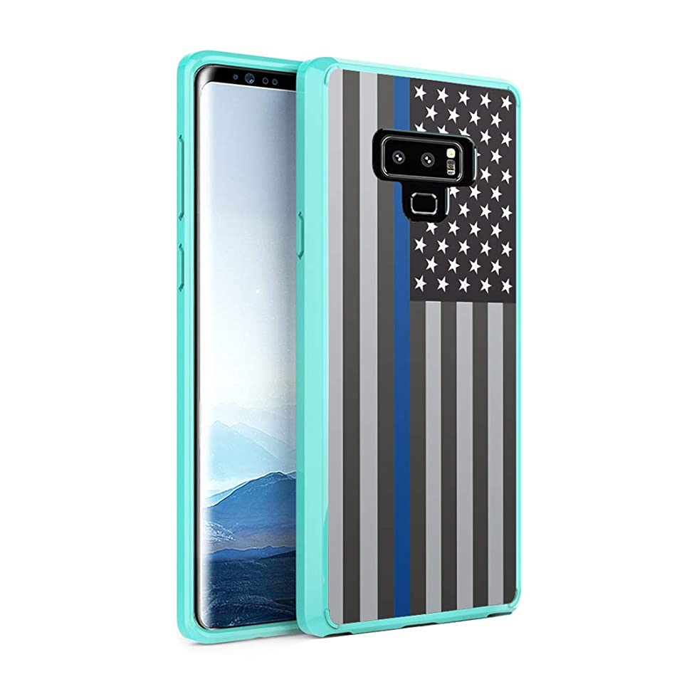 Capsule Case Compatible with Galaxy Note 9 [Hybrid Slim Hard Back Shield Case with Fused TPU Edge Bumper Protective Mint Green Case] for Samsung Galaxy Note 9 - (USA Flag Blue Line)