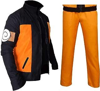 Mens Naruto Shippuden Uzumaki Cosplay Costume Orange Black Tracksuit Jacket