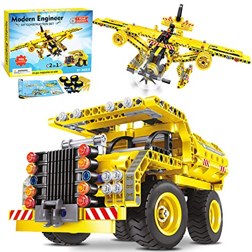 ACTRINIC 2-in-1 STEM Baustein Spielzeug für Jungen 8-12 Jahre-361Pcs Construction Engineering Kit Spielzeug für Alter 6 7 8 9 10 11 12 Jahre Jungen & Mädchen Geschenk