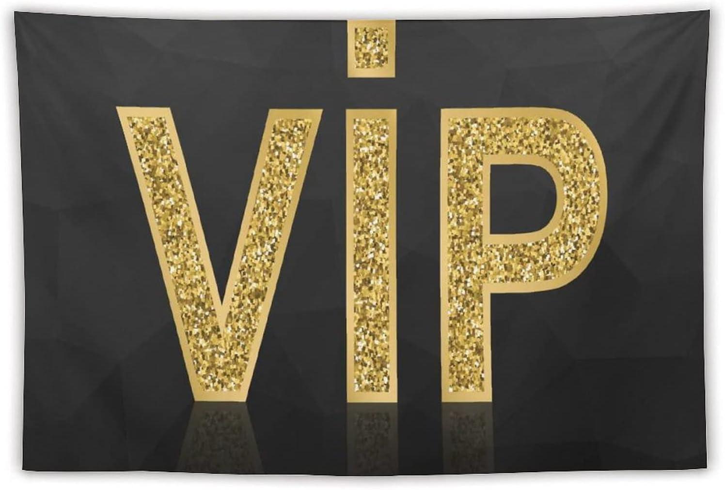Manta Tapiz Para Colgar En Pared,VIP icono dorado brillante sobre fondo negro poligonal, Estera Picnic Decoración Sala Estar,40x60
