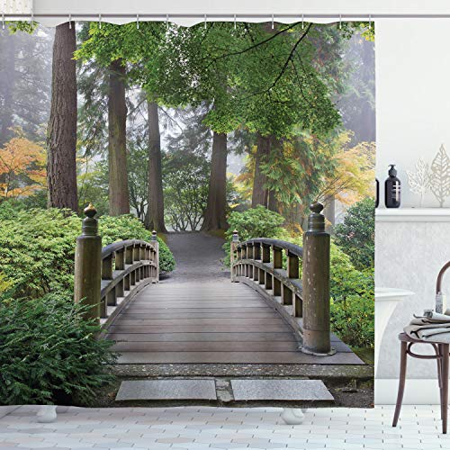 Ambesonne Japanese Shower Curtain, Foggy Morning Wooden Bridge at Japanese Garden with Trees in Autumn Image, Cloth Fabric Bathroom Decor Set with Hooks, 70' Long, Taupe Green