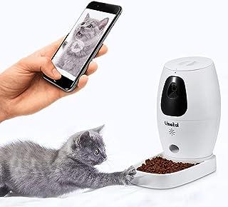 Vmotal 自動給餌器 自動餌やり機 赤外線で遊ぶ 録画用の暗視付きカメラ 双方向音声 録音可 タイマー式 1日6食でペット自動餌やり器 犬猫お留守番対策 ペット用品 アプリ iOSとAndroid対応 WiFi 猫用 中小型犬用 (Middle)