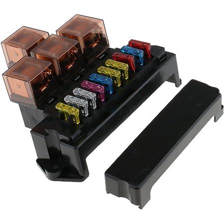 magideal 12v/80a 10-wege sicherungskasten fuse box 4-relaishalterbox mit 10  sicherungen für auto kfz: amazon.de: auto  amazon.de