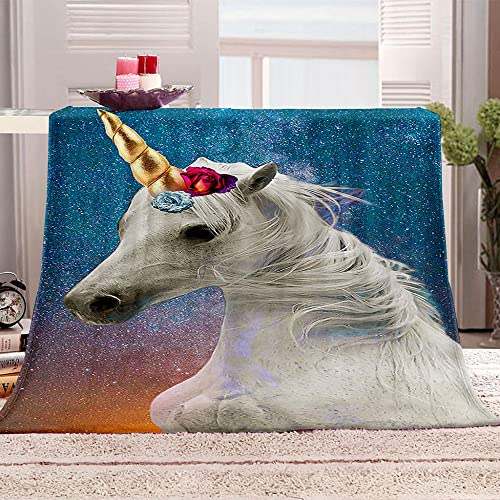 ZSDWGL Manta para Franela Microfibre 135 x 200 cm Caballo de Dibujos Animados de Animales