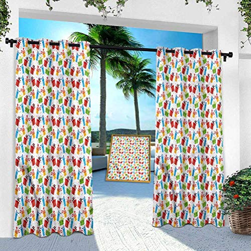 Aishare Store Outdoor Curtain Panel, Birthday,Colorful Boxes Festive, 95 Inches Long Window Treatment Silver Grommet Water Repellent Indoor Outdoor Drape(1 Panel)
