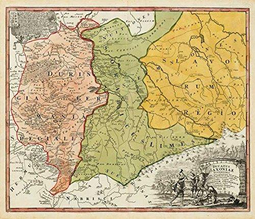 Historische Karte: Burgen-, Ritter- und Klösterkarte Thüringen, Sachsen und Obersachsen 1000-1400. Tab. III - 1732 (Plano)