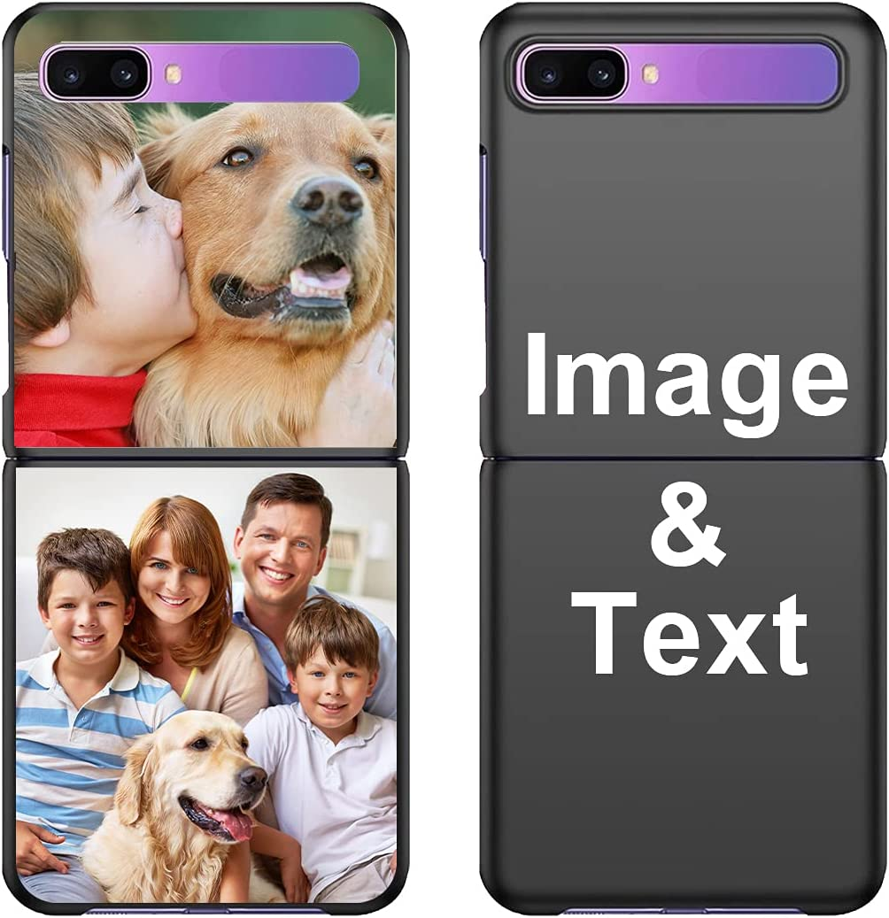 Customized Photo Case for Galaxy Z Flip(Not Fit Galaxy Z Flip 3), Personalized Picture Case Shockproof Silicone Case Soft Candy Custom Phone Case Birthday Gift STYLETiFY Protective Phone Cover Black