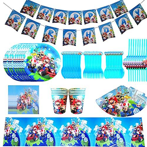 BlinBlin 88 Pcs Mario Cumpleanos Fiesta Tematica Set Taza Cuchara Cuchillo Plato Tenedor Paja Mantel Sombrero Panuelos Pancarta 10 Invitados Suministros Para Fiestas Vajilla Desechable Ecologica