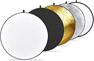 Sonia 42-inch / 107 cm 5 in 1 Collapsible Multi-Disc Light Reflector with Bag - Translucent, Silver, Gold, White and Black