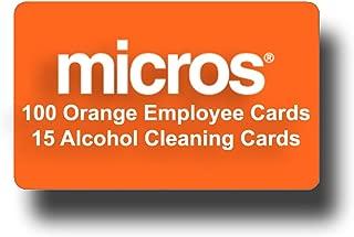 100 Orange Micros Server Swipe Cards + 15 Swipe Reader Cleaning Cards
