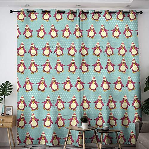 Sdustin Cortina de Navidad para niños, diseño vintage con pingüinos divertidos animales árticos de Navidad en Polo Norte, multicolor, 132 x 160 cm, aislamiento térmico, panel de cortina con ojales