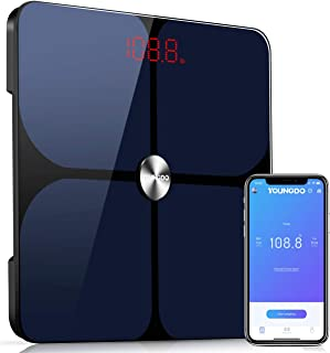 Smart Body Fat Scale, YOUNGDO Wireless Digital Bathroom Scale for Weight, 23 Body Composition Analyzer, Unlimited Users, APP, 396 lbs/180kg