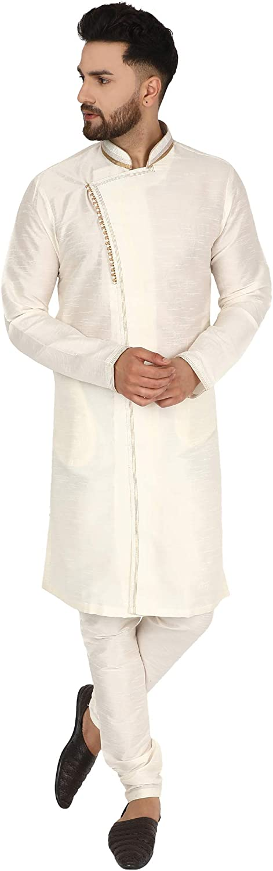 SKAVIJ Max 43% OFF Men's Art Silk Kurta Indian Festive Limited Special Price Wedding Pajama Party