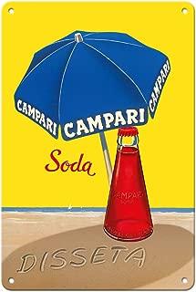 Pacifica Island Art 8in x 12in Vintage Tin Sign - Campari Soda - Hydrates (Disseta) - Blue Beach Umbrella - Vintage Advertising Poster by A. Traub c.1930s