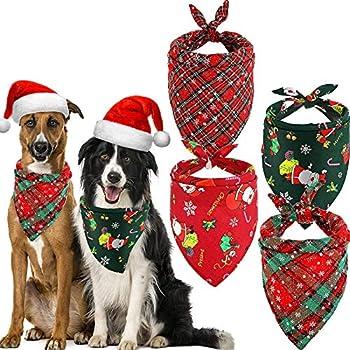 4 Pièces Bandanas de Chien de Noël Écharpe Triangle d'Animaux de Compagnie Foulard à Carreaux d'Animaux de Compagnie à Motifs de Père Noël Flocon de Neige Accessoires Bavoirs pour Chien Chat Animal