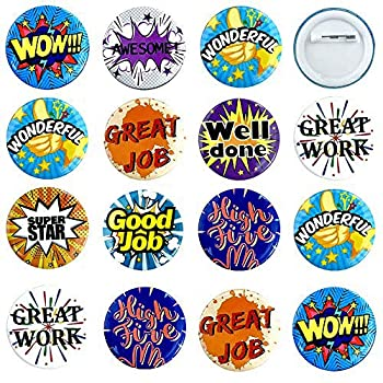 9 Style 90 PCS Reward Button Pins Recognition Button Round Pins as Incentive Motivation Awards for Kids or Workers