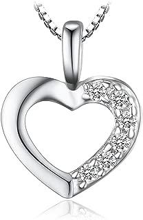 Colgante Circonita en forma de Corazón Collar Plata de ley 925 cadena de caja 42cm