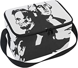 George Washington Abraham Lincoln Clip Art Insulated Lunch Bag Tote Bag Cooler Lunchbox for Picnic School Women Men Kids