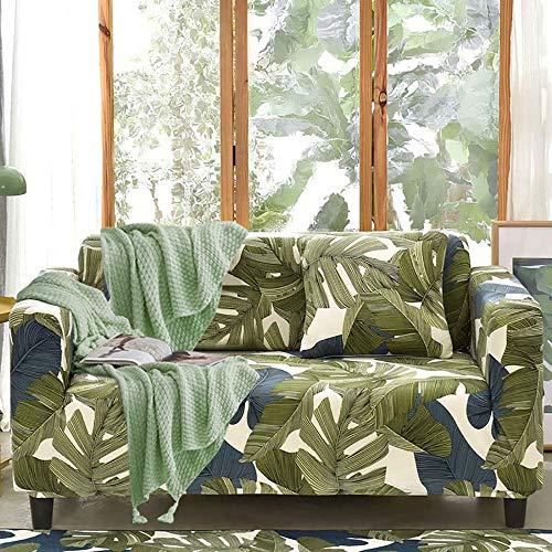 Fundas para Sofá Elástica 4 Plazas,Cubre Sofá Moderno Universal Cubierta Sofa Antideslizante Protector para Sofás Muebles contra Mascotas Polvo,Fundas Protector para Sofá Sillones(Verde/Graffiti)