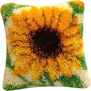 CUTICATE Sunflower Latch Hook Rug Kit - Pillows Case Making Material Package DIY Home Ornaments