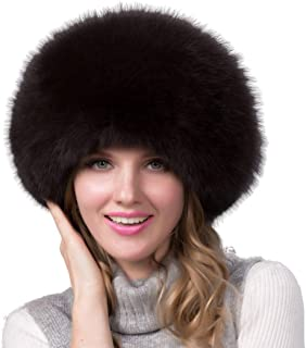 Women's Winter Warm Fox Fur Hat Cossack Russian Style Hat Caps with Stretch