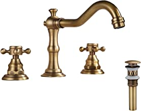 GGStudy 8-16 inch Two Handles 3 Holes Widespread Bathroom Sink Faucet Antique Brass Basin Mixer Tap Faucet Matching Metal Pop Up Drain With Overflow