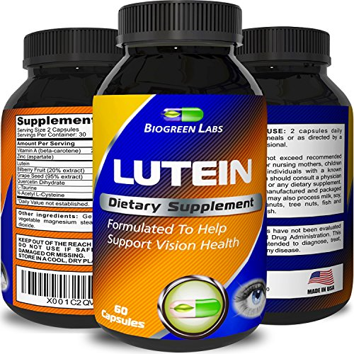 Lutein Eye Support Supplement - Advanced Vision Support Vitamin - #1 Antioxidant to Keep Eyes Strong & Vision Clear – Improve Ocular Health with Pure Zinc & Bilberry for Women & Men by Biogreen Labs