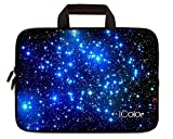 ICOLOR Blue Starry 10 10.2 Inch Laptop Carrying Bag Neoprene Travel Briefcase Portable Chromebook Ultrabook Sleeve Case with Handle Fits 9.7-10.1 Inch Dell Google Acer HP Lenovo Asus (IHB10-03)
