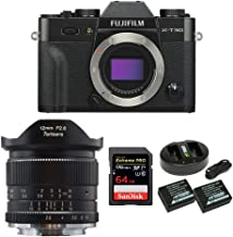 Fujifilm X-T30 Mirrorless Camera (Body Only, Black) w/7artisans 12mm f/2.8 Manual Fixed Lens with SanDisk 64GB 170 MB/s, Battery/Charger Bundle (4 Items)