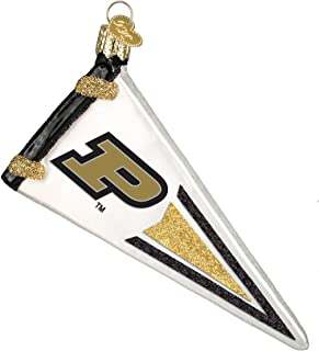 Old World Christmas Ornaments: Purdue University Glass Blown Ornaments for Christmas Tree, Pennant