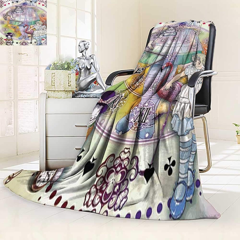 YOYI-HOME Lightweight Summer Duplex Printed Blanket,House Alice in Wonderland Magical Fantasy World of Adventure Clock FlamingoCheshire Cat Rabbit Bed,Sofa, Air-Conditioner Room 59 W by 39.5  H