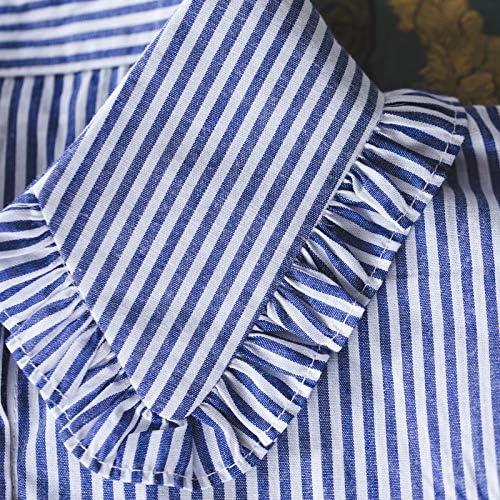 FANKEE Minimalist Stripes Denim Women Detachable Lapel Fake Collar Cute Doll Ruffles Lace Splicing Button Down False Half Shirt Blouse