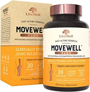 Joint Health Supplement - MoveWell Plus by LiveWell | Antarctic Krill Oil, Natural Astaxanthin and Hyaluronic Acid | Outperforms Glucosamine