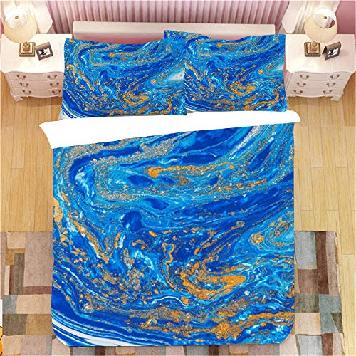 Gzsyb Bed Linen Duvet Set Cover And Pillow Case Microfibre With 1 Quilt Case 2 Pillowcases Case Blue tassel 3D Digital Print Three - Piece Bed Linen Double 200x200 cm