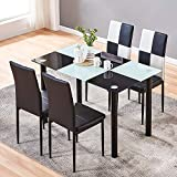 4HOMART Dining Table with Chairs, 5 PCS Checker Style Glass Table Set Modern Tempered Glass Top Table and PU Leather Chairs with 4 Chairs Dining Room Furniture