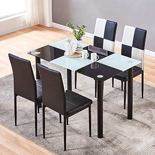 5-Piece Dining Room Set, Tempered Glass Dining Table with 4 Faux Leather High Back Chairs, Modern Dinner Table Chair Set with Black-White Checker Pattern for Kitchen Dining Room Living Room