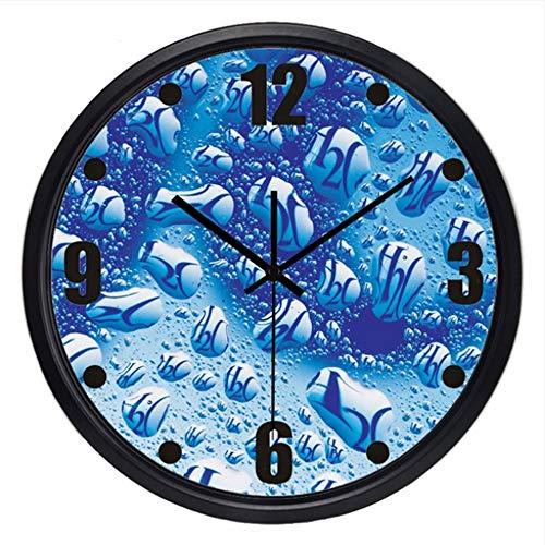 guyuell Pure Water H2O Uhr Uhr Glas Metall Wohnzimmer Badezimmer Wanduhr, B