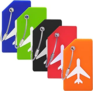 Silicone Luggage Tag with Name ID Card Perfect to Quickly Spot Luggage Suitcase (Plane 5Pcs Multicoloured)