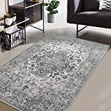 CAROMIO Modern Abstract Area Rug, Low-Pile Rug Soft Floorcover Indoor Floor Carpets for Living Room Bedroom, Easy to Dry Rug Perfect Floor Mats for Home Decor Abstract (Dark Grey, 4' x 6)'