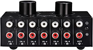 Semoic 6 Input 1 Output Switcher Audio Source Selection Switcher RCA Audio Input Signal Selector Switch with Volume Adjustment and Manual Switch