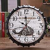 YZYZYZYZ - Reloj de pared (metal blanco, hoja de hierro, diseño de mapamundi, tapa para botellas, reloj de pared, 34 x 34 cm)