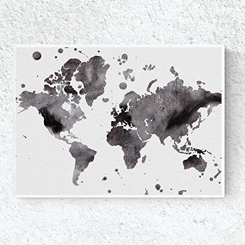Nacnic Lámina para enmarcar MAPAMUNDI en Blanco y Negro. Tamaño A3