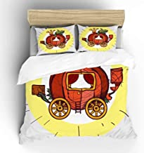 Aluy's boutique Pumpkin Carriage for Cinderella Color Illustration Soft Duvet Cover, King Size 3 Pieces with 1 Duvet Cover and 2 Pillowcases, Microfiber Polyester Decorative Bedding Sets